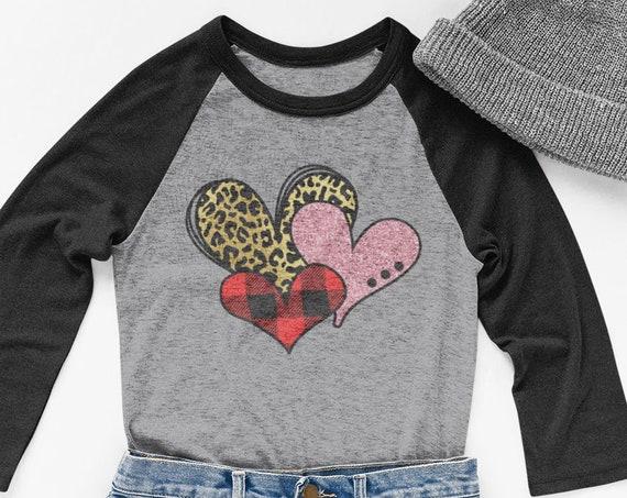 Valentines Raglan Shirt, Valentines Shirt, Raglan Shirt, Long Sleeve Shirt, Valentines Day Shirt, Hearts Shirt, Valentines Day Gift, Unisex