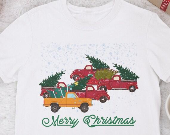 Christmas Tree Shirt, Merry Christmas Shirt, Christmas Truck Shirt, Christmas Gift, Red Pickup Truck, Red Truck Christmas, Cotton T shirt