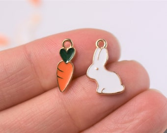 Enamel rabbit and carrot charms or pendants