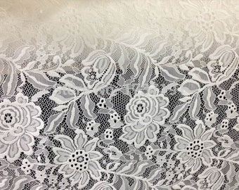 Luxurious Stretch Lace in Off White / Polyester Elastance Off White Lace / Floral Stretch Lace