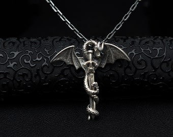Men Dragon Necklace Silver Warrior Jewelry Sword Necklace Dragon Silver Pendant Unisex Silver Sword Pendant Men Silver Accessory Gift