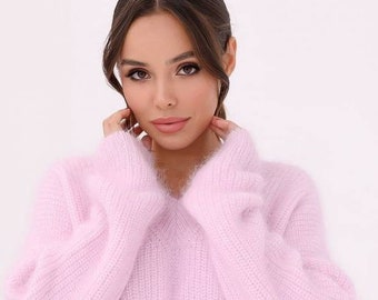 Wool woman pullover casual soft light pink oversize sweater warm lady oversized sweater gift for her