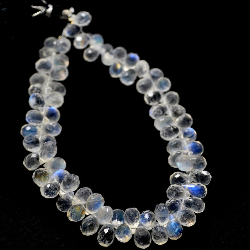95 Ct 5x7 to 5x8 MM Natural Blue Sheen Rainbow Moonstone Faceted Drops Beads 8 inch,Untreated Blue Fire Moonstone Gemstone Necklace