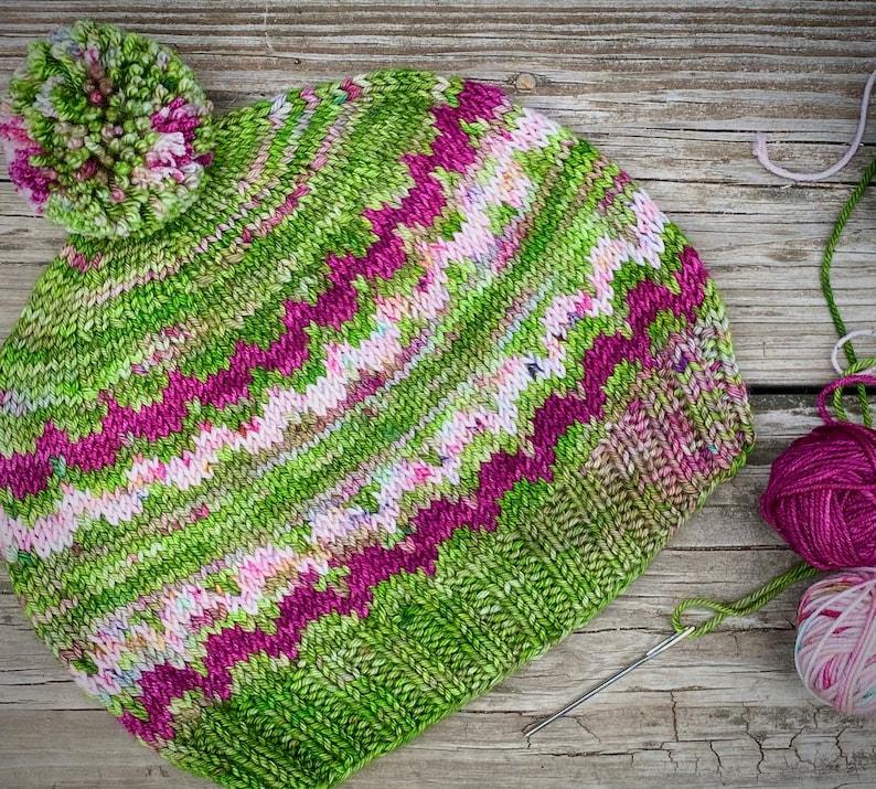 Spoonful of Sugar Hat pdf knitting pattern dk weight stranded image 0