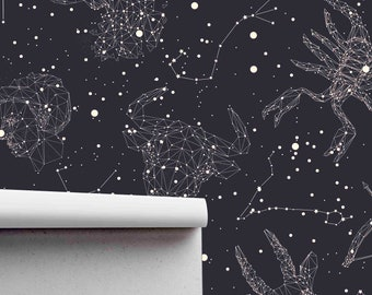 High quality peel and stick removable self adhesive wallpaper Astrological zodiac sign wallpaper