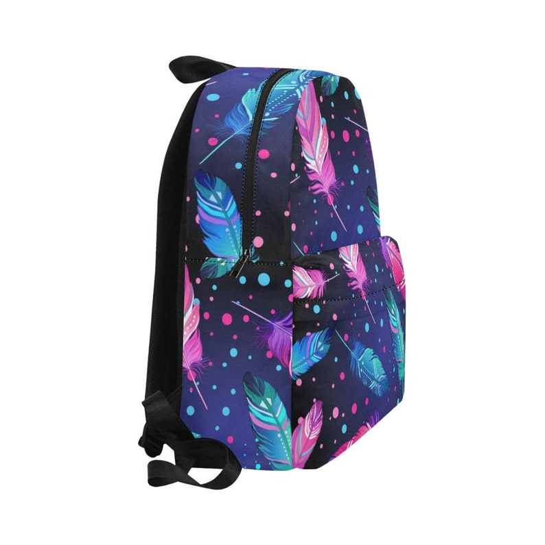Gift Bag BackPack Book Bag Colorful Feathers Unisex Backpack Bookbag,Multi colored,Bright,Psyched
