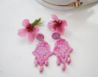 Bollywood earrings | boho indian earring ,ethnic earring, diwali earring | polymer clay earrings| Statement earrings | gift earrings | Pink
