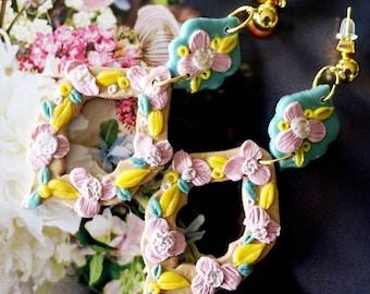 Bridal earrings, bridesmaids earrings  | flower earrings, rose earrings | polymer clay earrings| Statement earrings | gift earrings | Pink