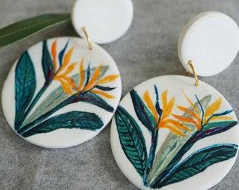 Hand painted Botanical Australian Bird of Paradise earrings | polymer clay earrings | Australian tropical flowers| Statement Art earrings