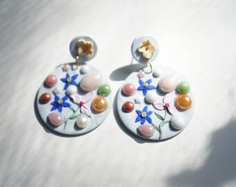Statement earrings | polymer clay earrings| gift earrings | One of a kind earrings, Unique earrings