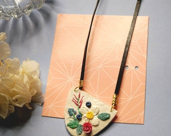 CLAY NECKLACE   Flora Art Necklace  Lightweight   Handmade   Statement Necklace   Beach Necklace   PARTY Necklace   Resort Necklace
