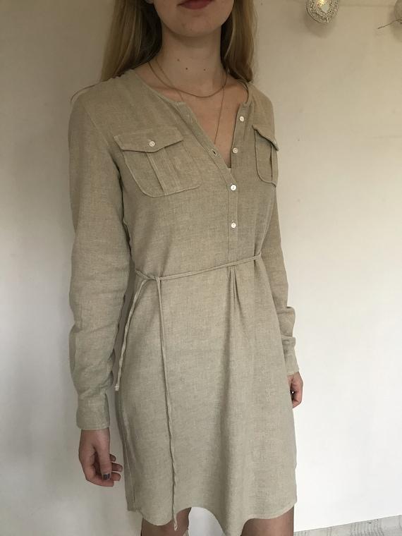 Women's crepe dress, vintage dress wool crepe, bei