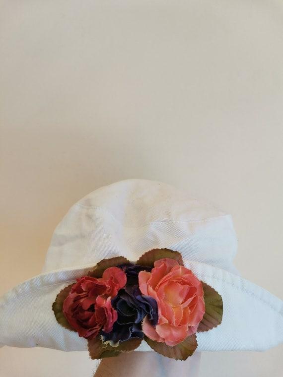 Vintage Bucket Hat with Flower Detail, Cotton Buc… - image 2