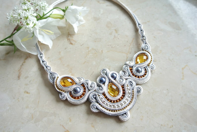 White and gold statement necklace Wedding necklace Bridal jewelry Rhinestone Embroidered necklace Soutache Bohemian Geometric Ornament