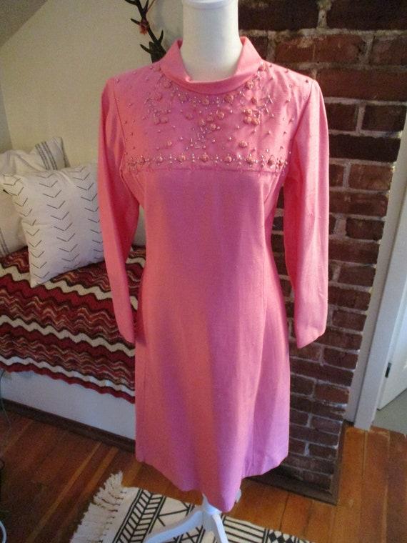 Vintage Bubblegum Pink 1960's Beaded Detail Dress