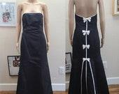 Gunne Sax Vintage Strapleess Black Sating Gown 7 8