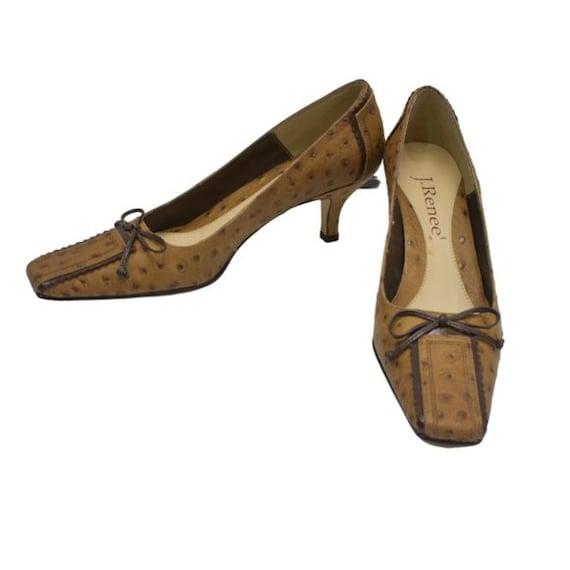 J. Renee Vintage Square Toe Ostrich Leather Tan P… - image 1