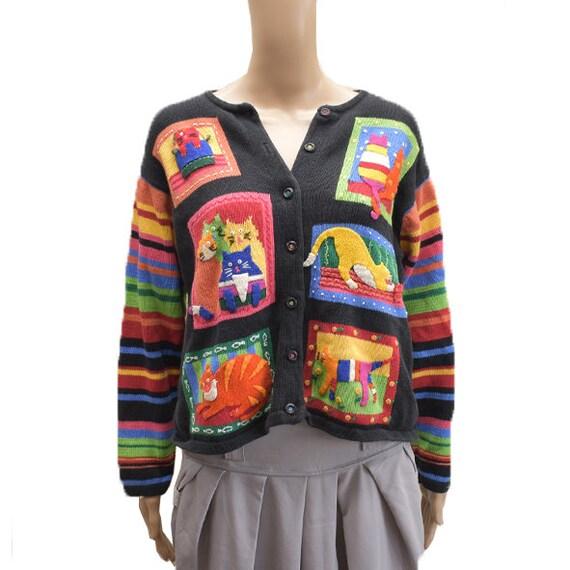 Vintage Cat Felt and Patchwork Color Sweater