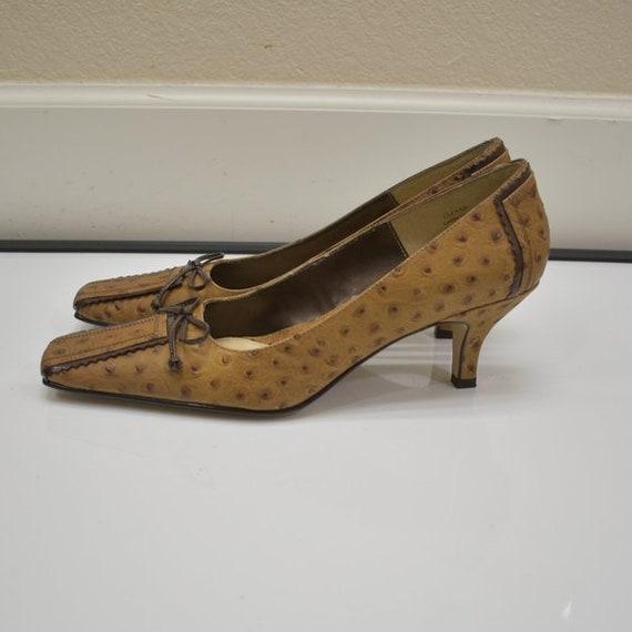 J. Renee Vintage Square Toe Ostrich Leather Tan P… - image 5