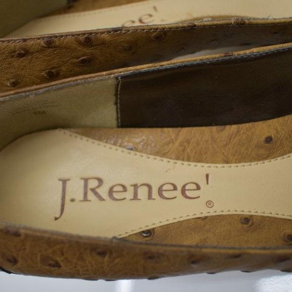 J. Renee Vintage Square Toe Ostrich Leather Tan P… - image 7