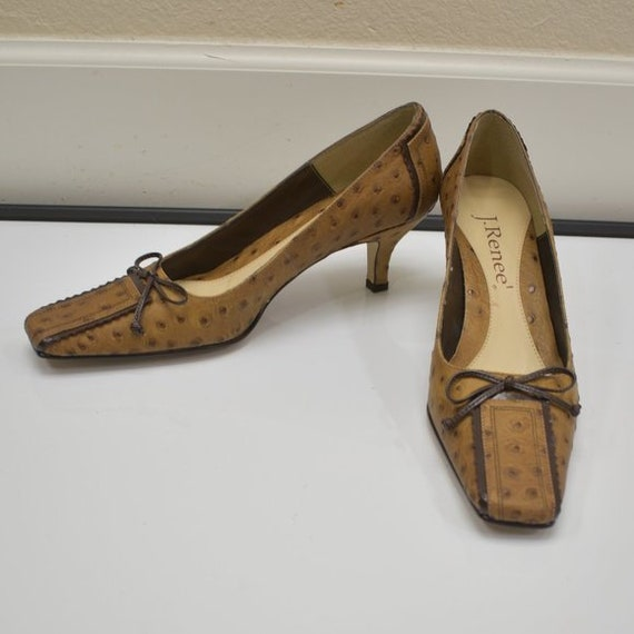 J. Renee Vintage Square Toe Ostrich Leather Tan P… - image 4