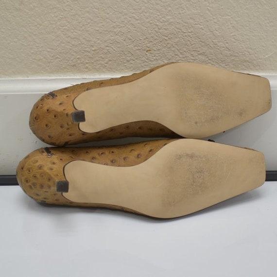 J. Renee Vintage Square Toe Ostrich Leather Tan P… - image 9