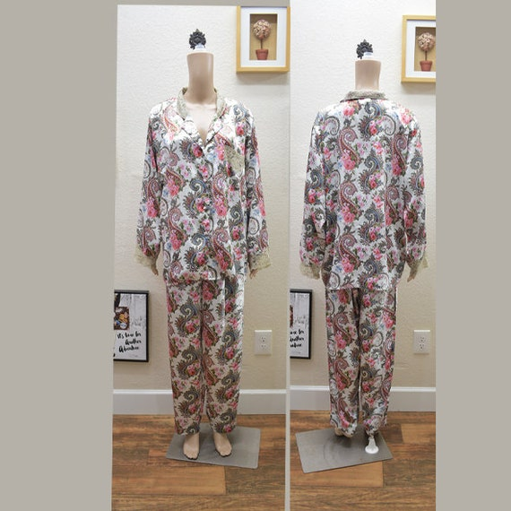 Vintage Victoria's Secret Satin Paisley Pajama Set