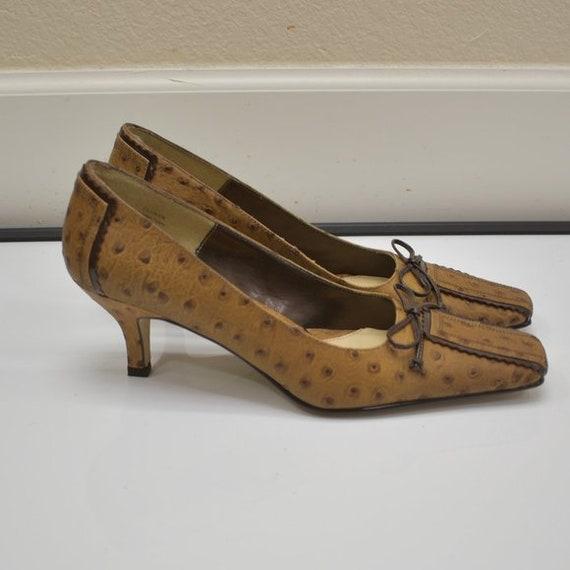 J. Renee Vintage Square Toe Ostrich Leather Tan P… - image 3