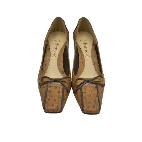 J. Renee Vintage Square Toe Ostrich Leather Tan P… - image 2