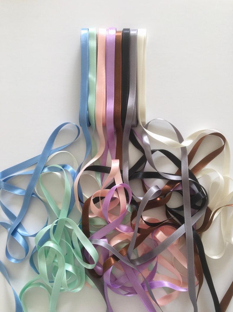 tan ribbon 2 5 10mm double side satin blue black 10 brown green lilac pink grey 20 meters