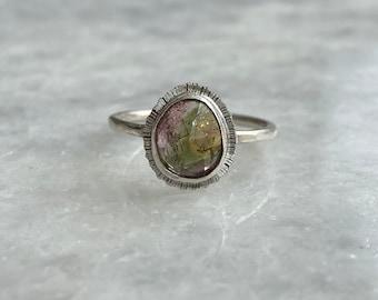Rose cut bicolour Tourmaline ring
