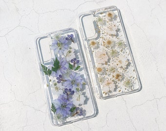 OnePlus 9 9pro case hand pressed real dried flower phone case iphone samsung galaxy oneplus google lg crystal clear case