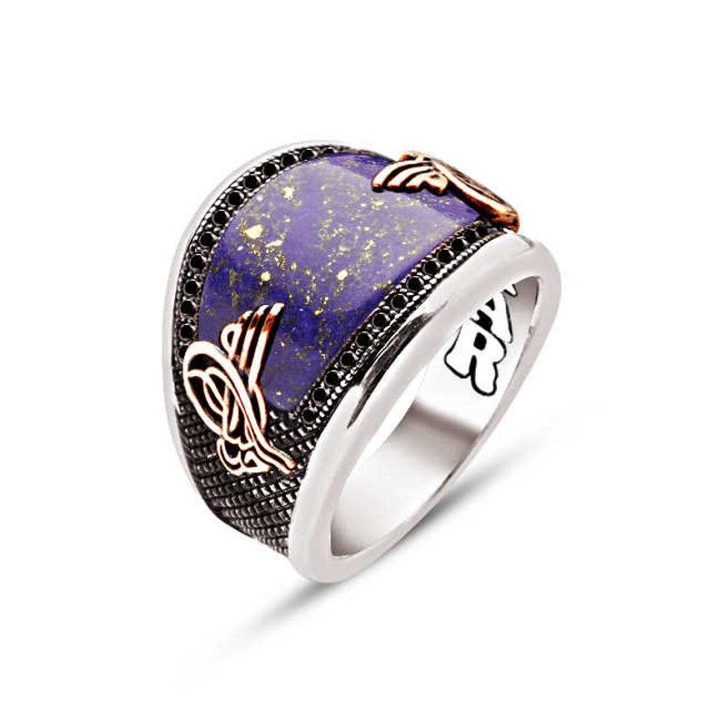 6 Options Tigereye-RedAgate-Onyx-Lapis-Turquoise-GreenAgate Half moon Cut Stone Stamp on Sides 925K Handmade Genuine Silver Man Ring
