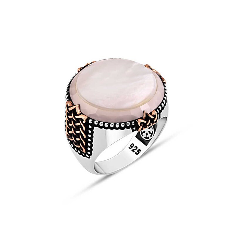 4 Color Options Circle Plain Mother of Pearl Stone Edgy Cut Around Epaulette Side Designs 925K Handmade Genuine Silver Man Ring