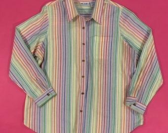 mod womens button down SALE  Rainbow FISH Vintage Top....1980s clothing vintage blouse green blouse rainbow artsy mad men urban