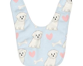 Dog-patterned bib 915 months old