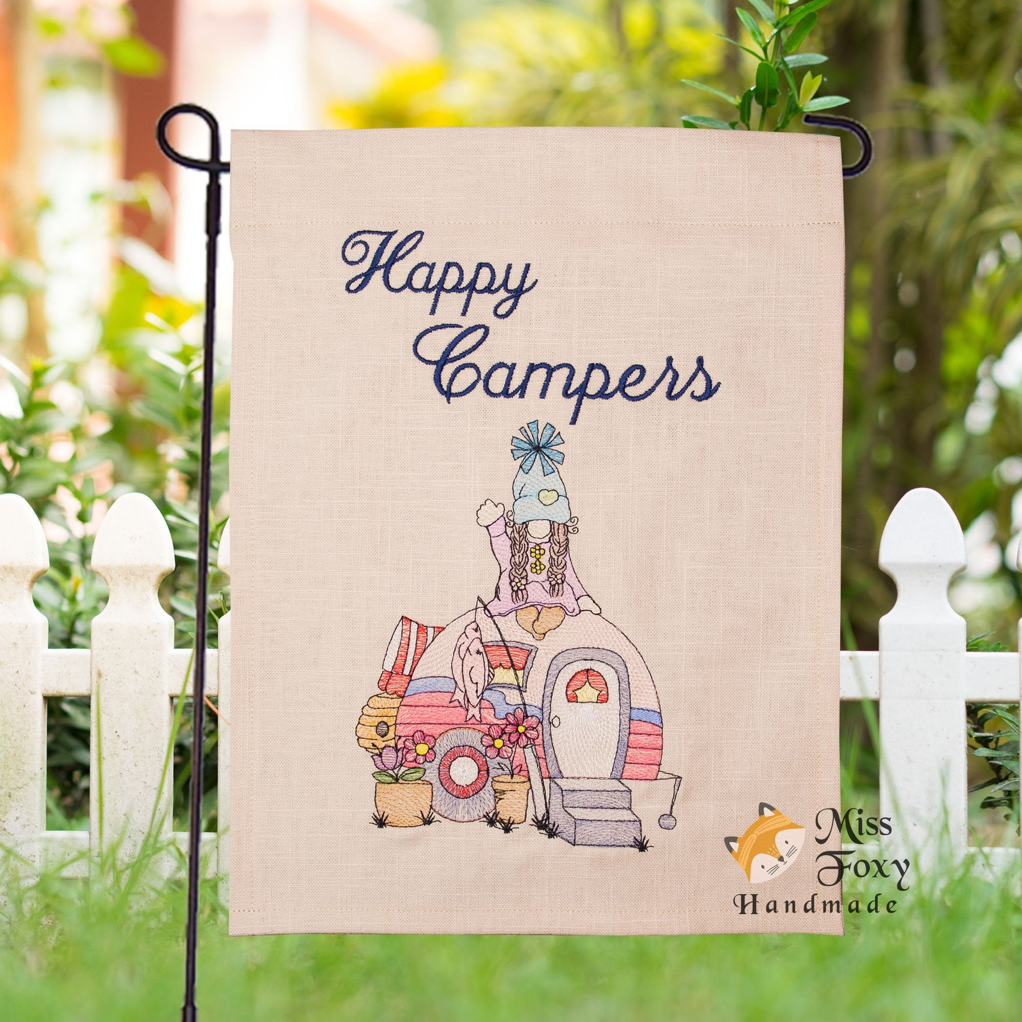 Happy Campers Girl Gnome Camping RV Camper Garden Flag Sign Embroidered  Fishing Trip House Warming Gift Summer Trip Bonfire RV Trailer