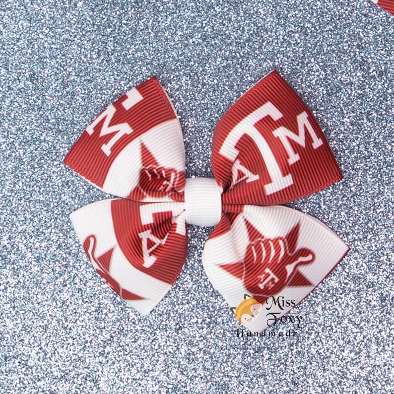 Toddler Girls Hair Bow College Hair Clip Bow Texas A/&M Sports Football Hair Bow Spike Bow Baby Headband Butterfly