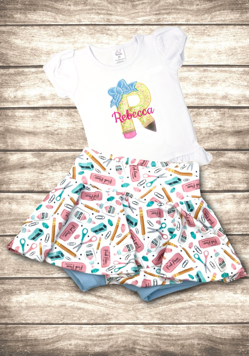 Girls Back To School Outfit  Monogrammed Personalized School image 0