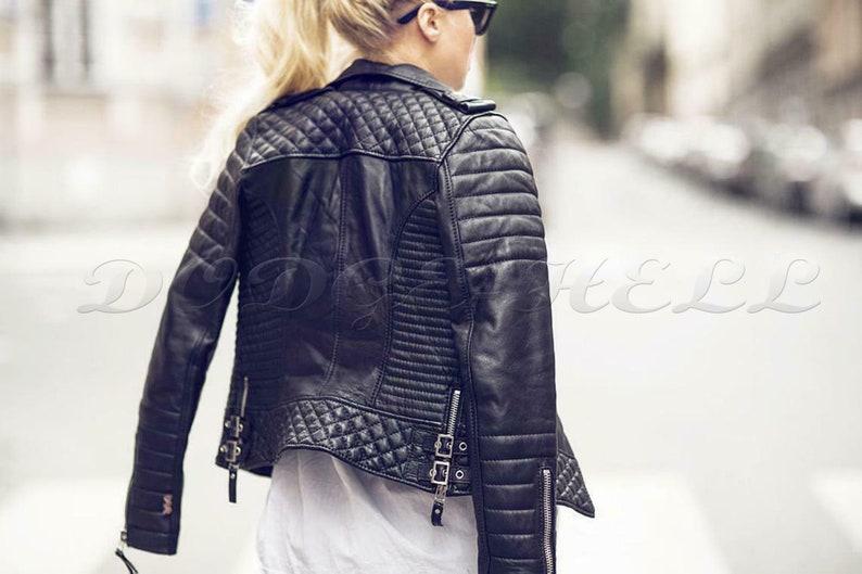 Women/'s Lamb Leather Hooded Jacket Ladies Biker Motorcycle Jacket Coat Slim Tops