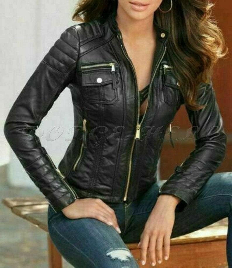 New Women/'s Genuine Lambskin Soft Leather Motorcycle Slim fit Biker JacketCoat
