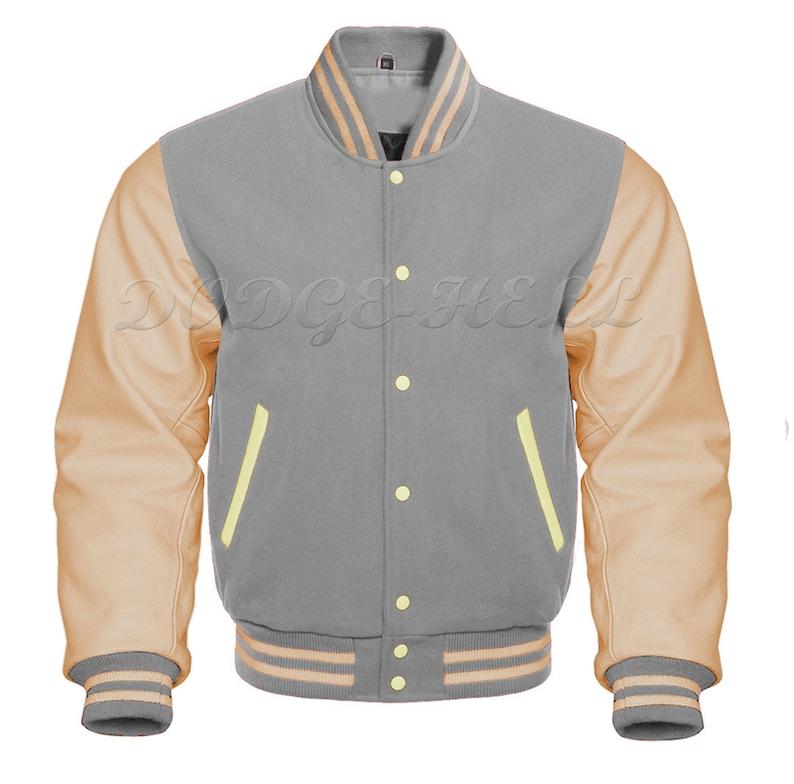 Baseball Varsity Letterman Bomber Grey Wool /& Genuine Cream Leather Sleeves