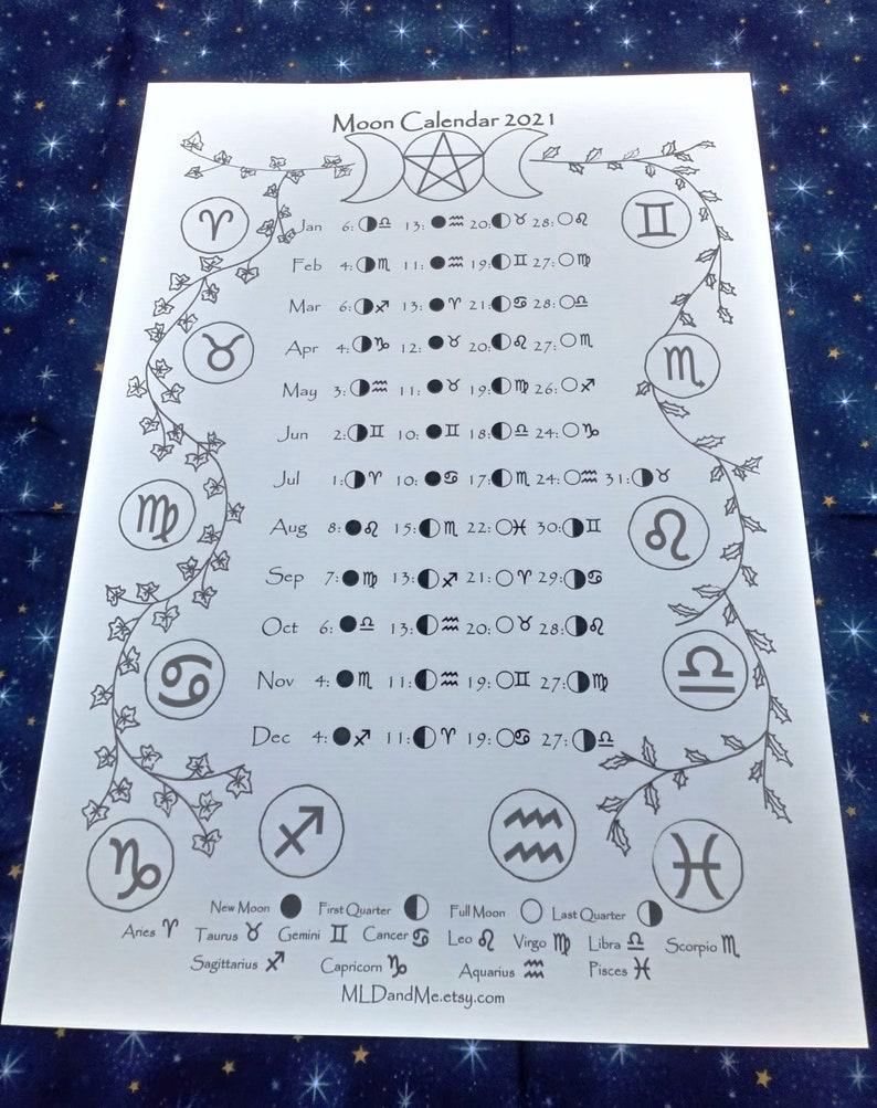 PRINTABLE Moon and zodiac calendar 2021 Moon phase ...
