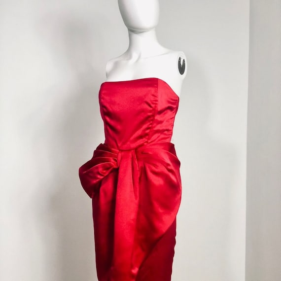 Vintage Victor Costa Red Oversize Bow Gown