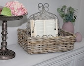Tray made of natural rattan with handles