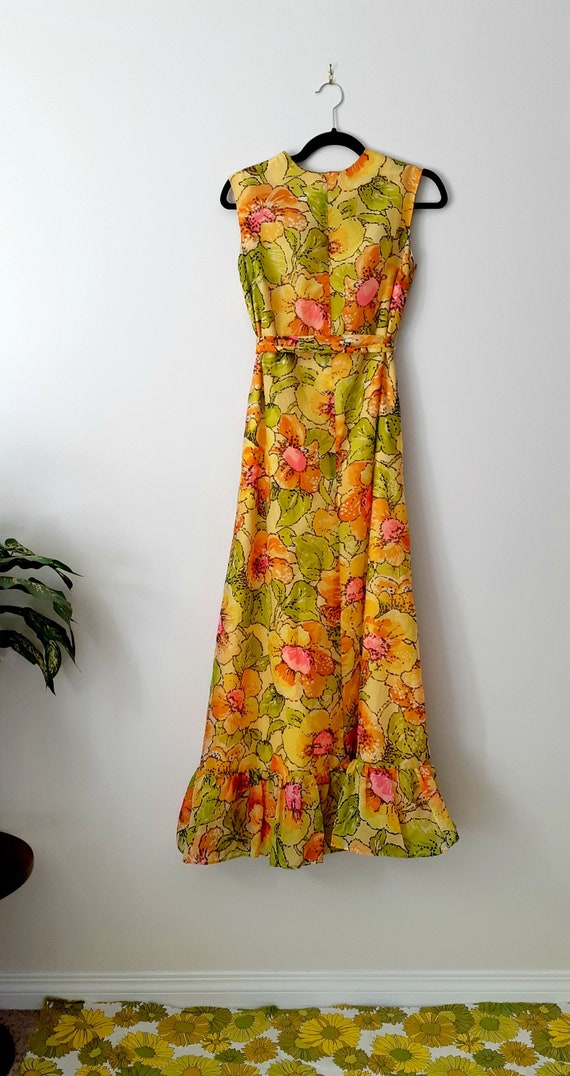 70's Yellow Floral Floor Length Dress