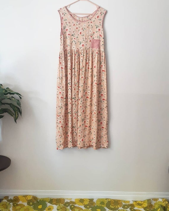 90's Rayon Floral Peach Frock