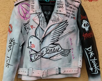 Skull RIP Never Say Die Lil Peep  painted custom Denim Jacket Goth Punk lether jacket Don/'t Fear the Reaper, Peep Tribute