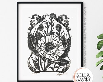 California Poppy Wildflowers Print | Flower Linoprint Boho Room Decor Aesthetic | Lino Print | Floral Wall Art