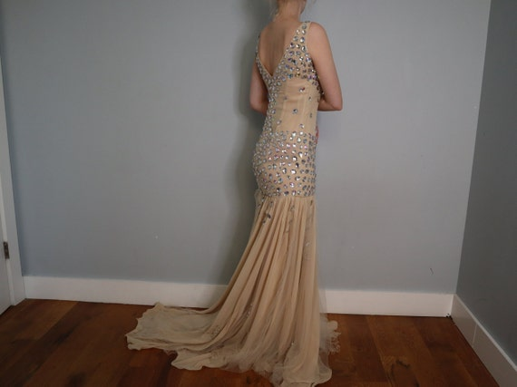 Sequined Princess Dress in Nude - Handmade - image 3